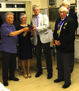Gordon Paddison, John Hall, Mary Moule   >< Bowls Football Runners Up